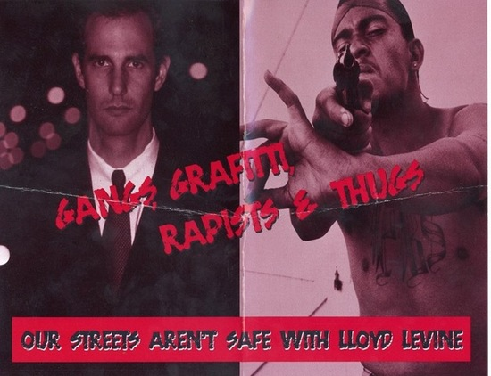 Andrei Cherny (D) mailer from 2002 California Assembly race, featuring side-by-side pictures of his primary opponent, Lloyd Levine, and an African-American gang member pointing a gun; text: 'Gangs, graffiti, rapists & thugs. Our streets aren't safe with Lloyd Levine'