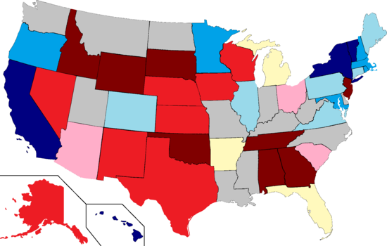 United States map shaded to show Daily Kos Elections' initial gubernatorial race ratings for 2013-14