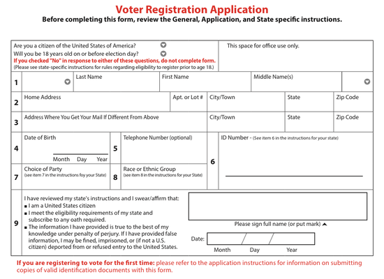 Portion of National Mail Voter Registration Form