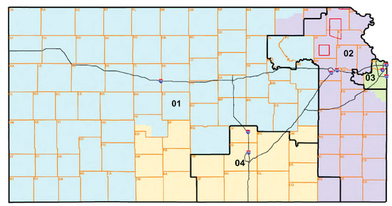 Map of new Kansas congressional districts