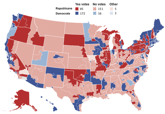 Map of fiscal cliff votes