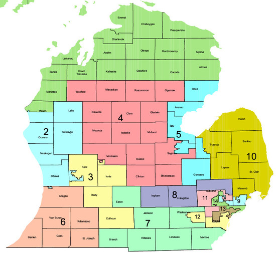 Michigan Congressional District Map Michigan Map - Us house of representatives district map michigan