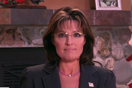 Palin using teleprompter